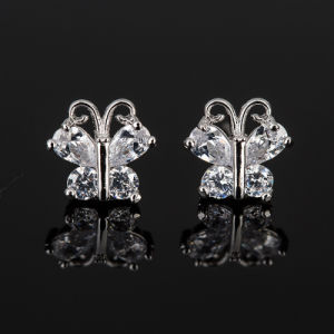 Fashion Zircon Crystal Butterfly Design Jewelry Stud Earrings in Rhodium Plated