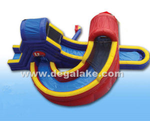 Inflatable Bridge and Tunnel Double Water Slide/ Inflatable Twin Water Slide for Kids