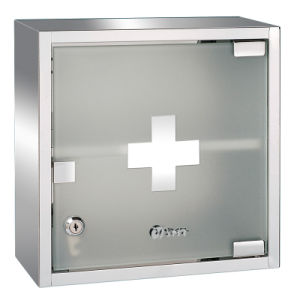 promo code 39a11 8fd02 Wall Mounted Lockable Stainless Steel Medicine Cabinet Box with 1 Shelf and  Frosted Glass Door