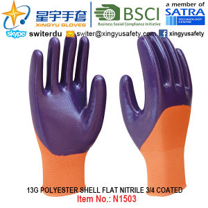 13G Polyester Shell Nitrile 3/4 Coated Gloves (N1503) Smooth Finish with CE, En388, En420, Work Gloves pictures & photos