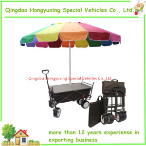 Beach Umbrella Outdoor Folding Wagon With Collapsible Camping Cart Table