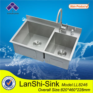 High Back Double Bowl Stainless Steel Kitchen Sink