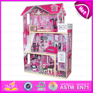2015 New Wooden Toy Doll House for Kids, Pretesnd Toy Wooden Doll House for Children, High Quality DIY Wooden Doll House W06A101 pictures & photos