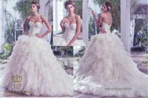 Organza Wedding Dress with Beading Sequins Cascading Ruffles Ball Gown