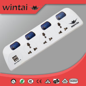 3 Ways Universal Extension Sockets with 2 USB Ports&Individual Switch (MP-304U)