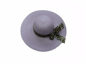 Multicolor Large Edge Lady Hat with Leopard Ribbon