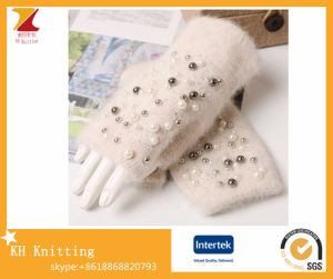 Winter Soft Knitting Wool Fingerless Gloves with Handmade Pear Inlay