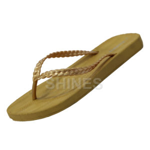 Glod Waved Thong Flip Flop for Women