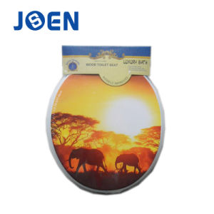 Sunset Elephant Design Printted Toilet Seat in Wood pictures & photos