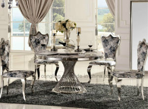 Italian Marble Stainless Steel Dining Table Set