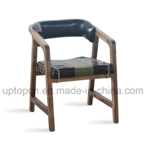 Wooden Living Room Furniture Set with Double Color Arm Chair and Round Table (SP-CT706) pictures & photos