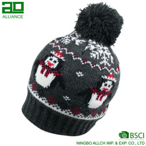 Christmas Series Knitted Custom Winter Beanie with Pom