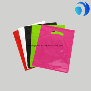 Pink and Purple No Gusset Merchandise Bags with Die Cut Handles