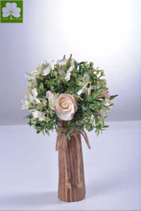 Artificial Rose with Boxwood Ball in Paper Mache Pot for Gift
