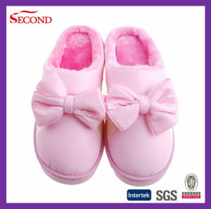 Pink Color Satin Winter Slippers for Girls