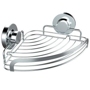No Tool Suction Fixing Stainless Steel Bathroom Corner Shelf