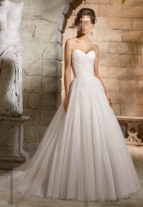 2016 A-Line Pleated Net Bridal Wedding Gowns Wd5364 pictures & photos