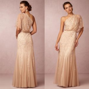One Shoulder Wedding Party Dress Beaded Prom Evening Dresses Z5033 pictures & photos