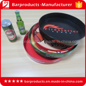 High Quality OEM Logo Round PS Bar Serving Tray