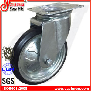 High Quality Swivel Black Rubber Hand Trolley Wheels pictures & photos