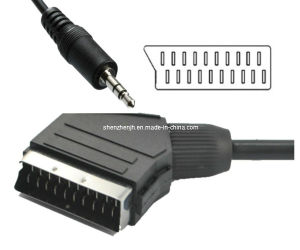 PVC Jacket 21 Pin Scart Plug to 3.5mm Audio Jack (4-Pole) AV Cable Scart Cable (JHST08-1)