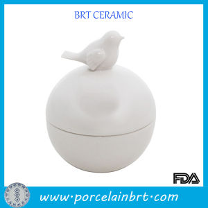 White Ball Shape Storage Jar with Bird Lid pictures & photos