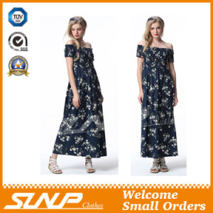 High Quality Export Printing Flower Ladies Dress Clothes