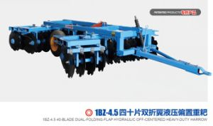 Disc Harrow: 40-Blade Dual-Folding-Flap Hydraulic off-Centered Heavy-Duty Harrow pictures & photos