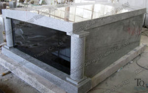 Column Polishing Grey Granite Mausoleum for Cemetery