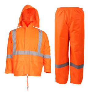 exclusive deals many styles recognized brands High Visibility Rain Suit with Reflective Strips Heavy Duty Polyster  Raincoat