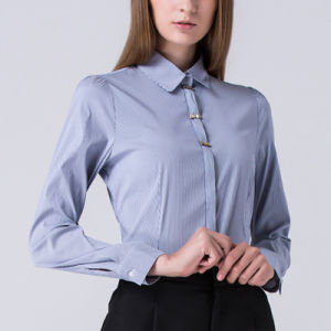 Blue Colors Ladies Office Formal Shirt Design for Women pictures & photos