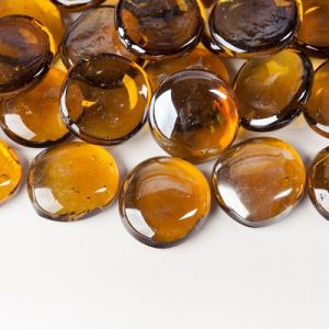 Nanjing Factory Amber Glass Pebble pictures & photos