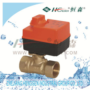 D Q F-B Brass Motorized Ball Valve with Actuator for Heating, Ventilation and Air-Conditioning System pictures & photos