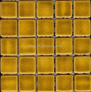 China Crackle Glazed Ceramic Tile Mosaic 40x40mm Bright Yellow Color ...