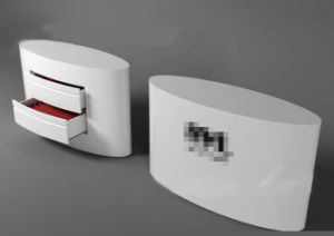 White Oval Checkout Counter