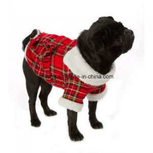 Red Highland Fleece-Lined Dog Coat Pet Clothes pictures & photos