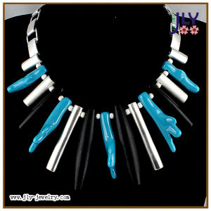 Wholesale Fashion Jewelry Handmade Turquoise Resin Stones Silver Plating Necklace pictures & photos