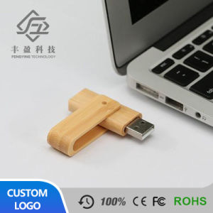 Beige Rotate Wooden Bamboo USB Flash Drive