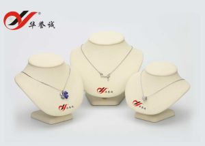 Beige Color Set of 3 PU Leather Jewelry Bust Display pictures & photos