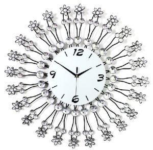 Bright Crystal Round Shape Iron Wrought Technique Clock Mechanism