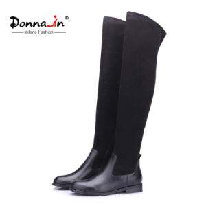 2017 Casual Lady Leather Shoes Over-Knee Flats Women Patchwork Boots