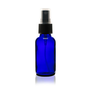 1 Oz Cobalt Blue Glass Bottle Black Fine Mist Sprayer