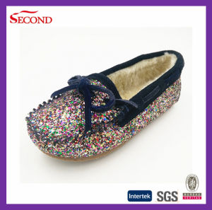Girls Glitter PU and Faux Fur Indoor Slipper