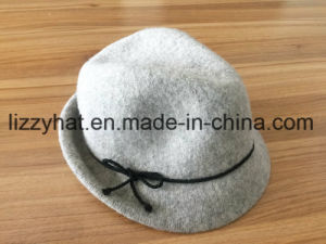 Fashion Knitted Wool Fedora Hat with Bow for Women pictures & photos