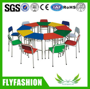 Simple Set Kids School Furniture Colour Wooden Desk with Chair pictures & photos