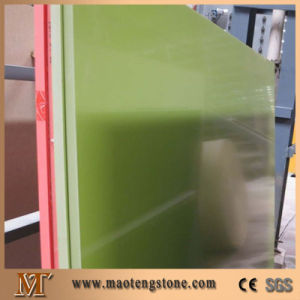 Colouful Pure Color Artificial Super Light Green Quartz Engineering Stone