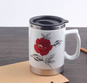 Stainless Steel Coffee Travel Mug with Ceramic Outer and Handle