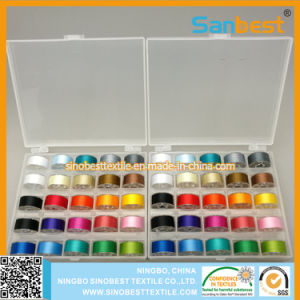 Colorful 70d/2 Polyester Prewound Bobbins Thread in Transparent Box pictures & photos