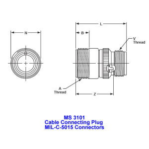 Ms 3101, Cable Connecting Plug, Mil-Dtl-5015 Military Connectors, Mil-C-5015 Industrial Connectors