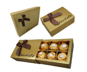 Golden Card Paper Chocolate Box (YY-C0080) pictures & photos